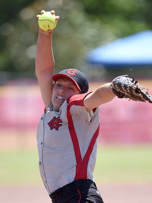 Harrison Central pitcher Kristen Cade winds up to throw against South Panola on Friday, May 13, 2016, at the MHSAA Fast-Ptich Softball State Championships at Freedom Ridge Park in Ridgeland, Miss.