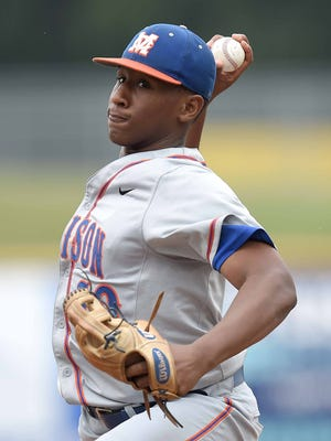 Madison Central pitcher Regi Grace throws against George County on Wednesday, May 18, 2016, in the MHSAA State Baseball Championships at Trustmark Park in Pearl, Miss.