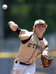Ethel's Michael McKinley pitches against Tupelo Christian on Thursday, May 19, 2016, in the MHSAA State Baseball Championships at Trustmark Park in Pearl, Miss.