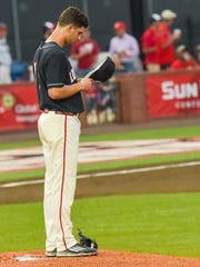 UL pitcher Gunner Leger stands on the mound at The Tigue back in 2018. He returns there this season after sitting out last year.