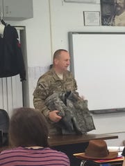 Mitch Ellicott, an ensign in the Navy, spoke to classes at Hopatcong High School.