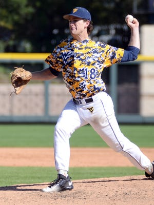 West Virginia pitcher Ross Vance throws against Texas Christian on March 19, 2016, at Lupton Stadium in Fort Worth, Texas.