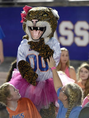 Madison Central mascot Ginger Jag (00) finds plenty of fans among the students that would later sing the National Anthem on Friday, October 14, 2016, at Madison Central High School in Madison, Miss.