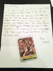Emmett Loew likes writing to retired pro basketball players to ask for an autograph on a card that he encloses. This one, about to be sent, is to Vern Fleming, who played in the NBA for 12 years, mostly for the Indiana Pacers.