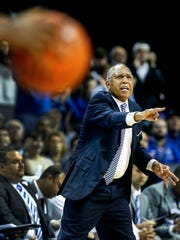University of Memphis head coach Tubby Smith calls defensive play against SMU during first half action at  FedExForum.
