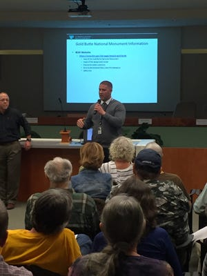 Lee Kirk, acting monument manager for Gold Butte National Monument, addresses attendees during Thursday's public forum in Mesquite.
