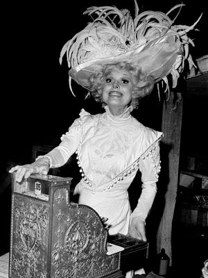 "Carol Channing on the set of ""Hello, Dolly!"" after the opening preview in New York City in 1978."