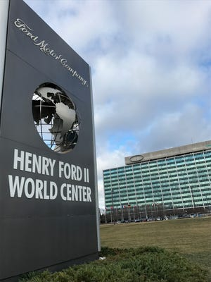 High winds ripped the Ford logo off the company's headquarters in Dearborn