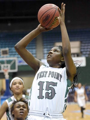 West Point's Jamia Hollings (15) scores against Ridgeland in the MHSAA 5A semifinals.