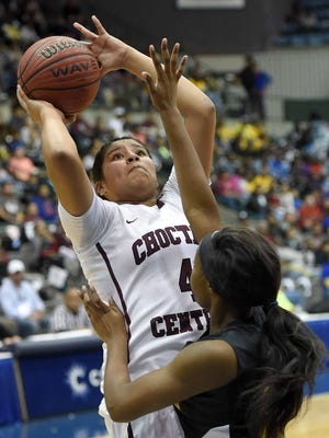 Choctaw Central's Kaedre Denson (4) shoots against Amanda Elzy on Saturday, March 11, 2017, in the MHSAA C Spire State Basketball Championships at the Mississippi Coliseum in Jackson, Miss.