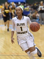 Myah Taylor won three Commercial Appeal player of the year awards while at Olive Branch. Her alma mater will retire her jersey on Jan. 26.