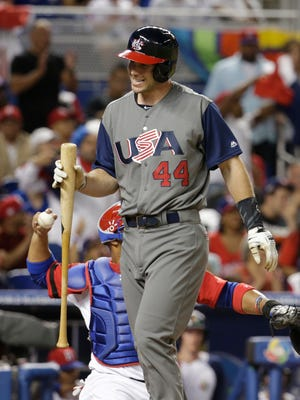 United States' Paul Goldschmidt (44) walks off after striking out during a first-round game of the World Baseball Classic against the Dominican Republic, Saturday, March 11, 2017, in Miami.