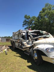 Two firefighters were hospitalized after their truck