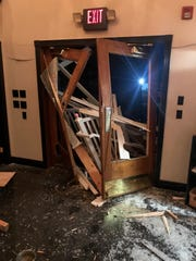 A semi-truck plowed through the front entrance of the Moonlite Bunny Ranch near Carson City, Nev. early Thursday morning.