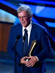 Bob Kingsley accepts the Mae Boren Axton Award during the 11th annual Academy of Country Music Honors at the Ryman Auditorium in Nashville, Tenn., Wednesday, Aug. 23, 2017.