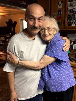 Richard Beranek is pictured with his mother at her home in Junction City after his release from prison on June 23.
