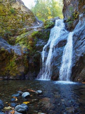 Faery Falls is the splashy highlight of a short hike through Ney Springs Canyon near Lake Siskiyou.