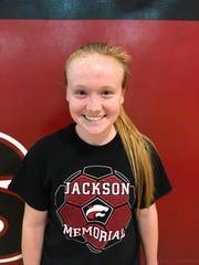 Jackson Memorial senior midfielder Lindsay Bathmann takes a break from practice this week.