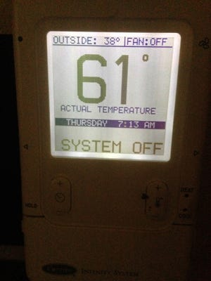 Jim Stingl's thermostat at home last week shows that the furnace is off even though it's 38 degrees outside. It's 61 chilly degrees in the house.