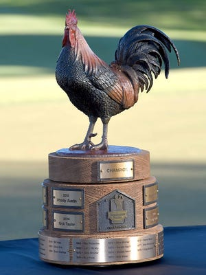 Reveille is the name of the rooster atop the trophy given for winning the Sanderson Farms Championship at the Country Club of Jackson.