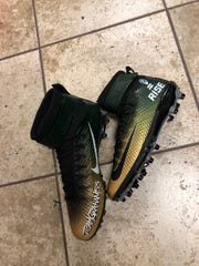 Philadelphia Eagles defensive end Brandon Graham's cause that he's displaying on his shoes is RISE, the Ross Initiative in Sports for Equality.
