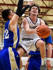 Franklin's Reese Glover (3) shoots past Brentwood's