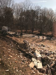 This photo provided by Rep. Greg Walden, R-Oregon, shows a crash site near Crozet, Va., Wednesday, Jan. 31, 2018.   A chartered train carrying dozens of GOP lawmakers to a Republican retreat in West Virginia struck a garbage truck south of Charlottesville, Virginia on Wednesday, lawmakers said.