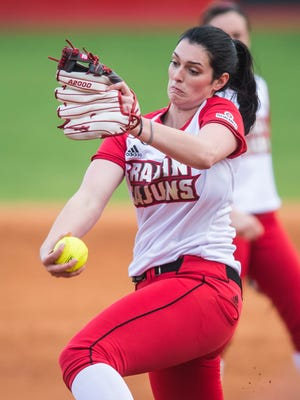 UL's Kylee Jo Trahan captured her first win of the season with a complete-game performance, allowing just three hits and striking out nine.