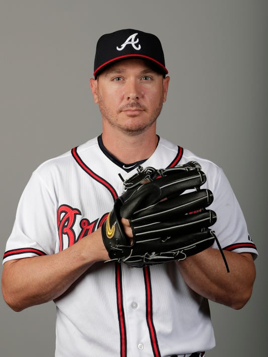FILE - This is a Feb. 22, 2018, file photo showing Scott Kazmir of the Atlanta Braves baseball team. Kazmir is trying to revive his career after missing all of last season, and he might've come to the right place. The Braves have a couple of openings in their rotation.  (AP Photo/John Raoux, File)