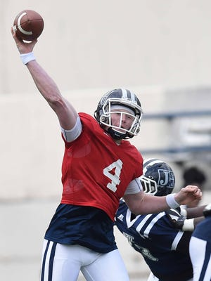 Jackson State quarterback Derrick Ponder throws a pass on Sunday, April 15, 2018, in the JSU spring game in Mississippi Veterans Memorial Stadium in Jackson, Miss.