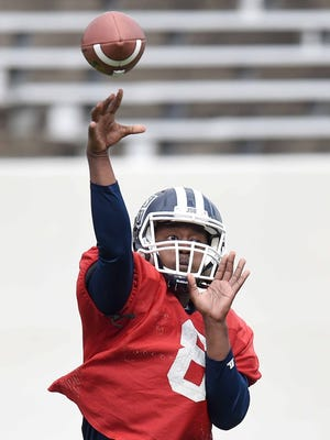 Jackson State senior quarterback Jarrad Hayes, seen here in JSU's spring game, threw for 247 yards and two TDs in his first start of the season Saturday in the Tigers' 30-27 SWAC win at Arkansas-Pine Bluff.