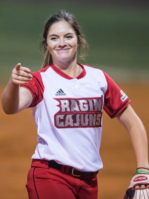 UL's Summer Ellyson strikes out 18 in a complete-game, 14-inning outing Friday at Lamson Park.