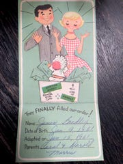 Carol and Darold Morris sent announcements like this one to mark the adoption of their son Brad.