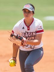 UL starting pitcher Summer Ellyson (9) gets the call