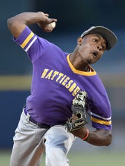 Hattiesburg's Landon Rascoe pitches against Lewisburg
