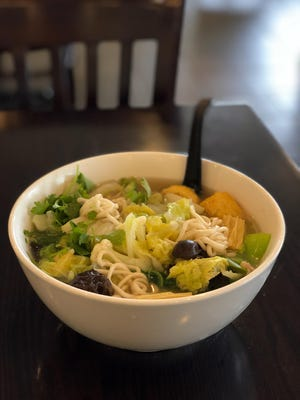 The noodles in Vegetable noodle soup are made to order at Kung Fu Noodles in Madison Heights.