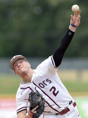 Nanih Waiya's Bryce Stanton throws against Smithville on Friday, May 18, 2018, in the MHSAA State Baseball Championships at Trustmark Park in Pearl, Miss.