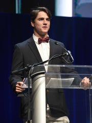 Brandon's J.T. Ginn won the Baseball Player of the Year and Male Athlete of the Year Awards on Tuesday, May 22, 2018, at the fourth-annual Clarion Ledger Sports Awards at Thalia Mara Hall in downtown Jackson, Miss.