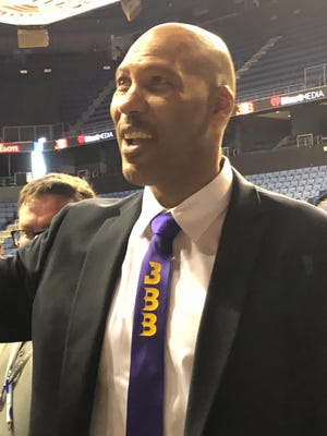 Opening night for the Junior Basketball Association, a league LaVar Ball formed to appeal to NBA hopefuls who don't want to play college basketball. Ball talks with fans before the first game.