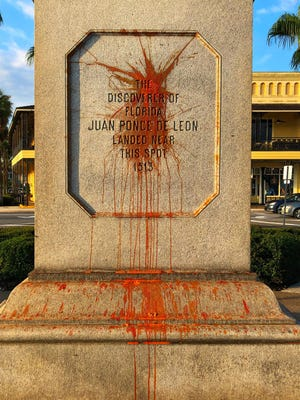 What are believed to be rotten eggs mar the base of a statue of Ponce de Leon in downtown St. Augustine on Thursday morning, June 18, 2020.