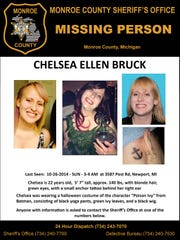 In a photo provided by the Monroe County Sheriff's Office, a search poster for Chelsea Bruck is shown.