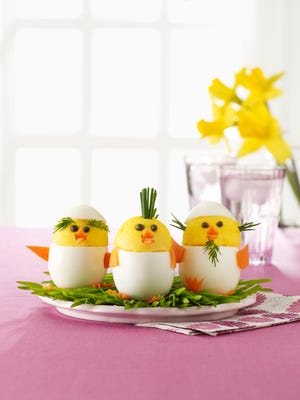 Egg chicks can becreated by adding facial features, and personality to traditional deviled eggs.