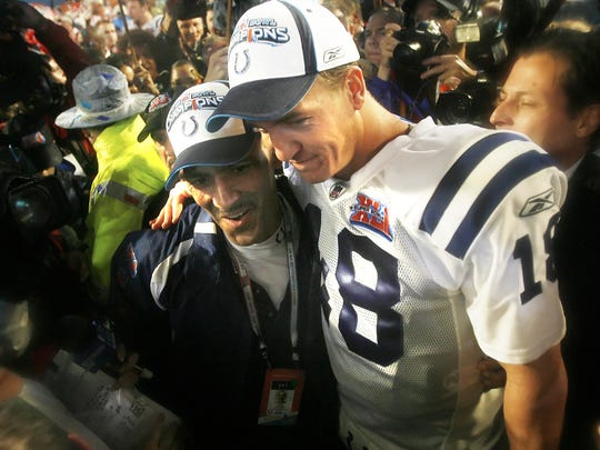 Manning earned his Super Bowl victory against the Bears on Feb. 4, 2007 at Dolphins Stadium in Miami, Fla.  He and coach Tony Dungy celebrated.