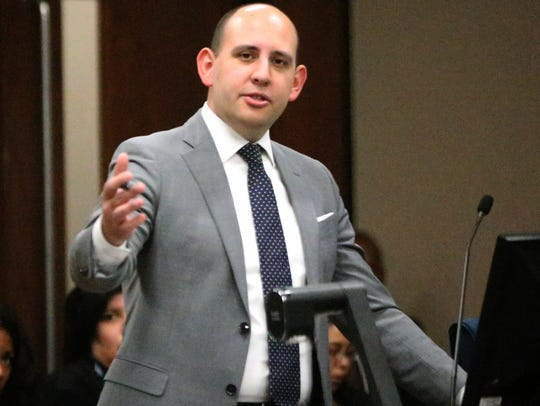 State prosecutor James Montoya argues in a March trial in 384th District Court that Devon Huerta-Person punched a constable Nov. 1, 2014, during a heated confrontation, contributing to the constable's death.