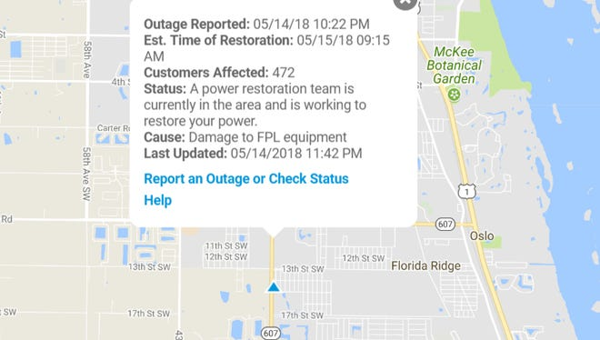 Nearly 500 people were without power about 11:50 p.m. Monday, May 14, 2018, according to FPL.