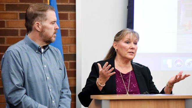 Sioux Falls city counselors Theresa Stehly (right) and Pat Starr speak at a press conference on Wednesday, Dec. 27, 2017, where the pair announced an effort to delay construction of a downtown parking ramp. The effort was spurred by the revelation that a construction company tied to the project is under federal criminal investigation.