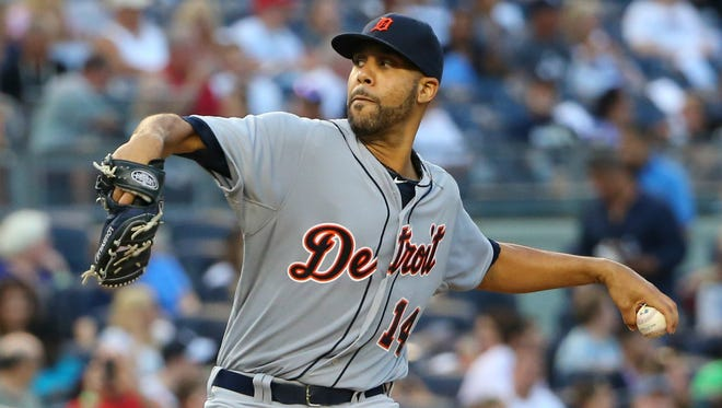 Detroit Tigers starting pitcher David Price (14) pitches during the first inning against the New York Yankees at Yankee Stadium.