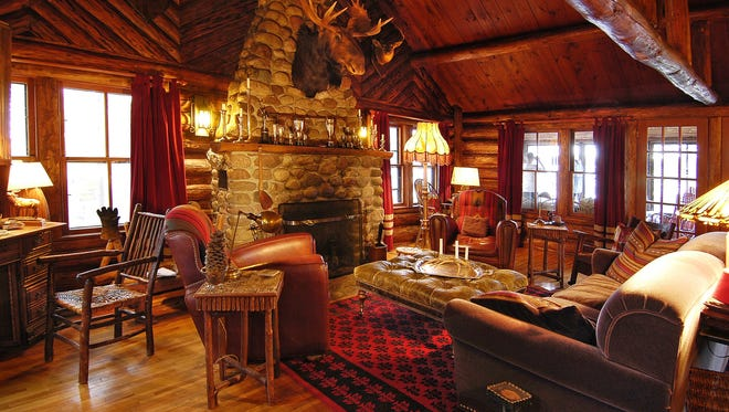 Spider Lake Lodge's fireplace is a favorite gathering place inside.