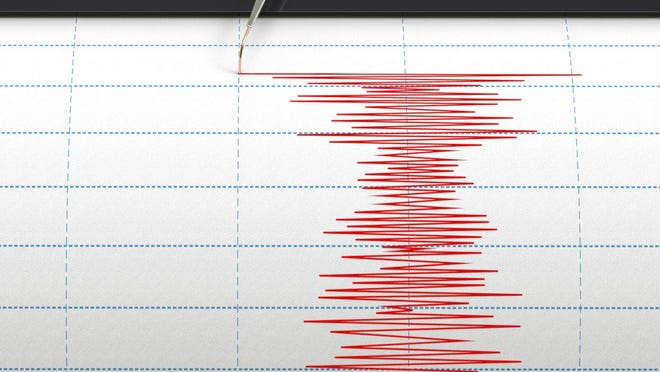 Seismograph instrument recording ground motion during earthquake