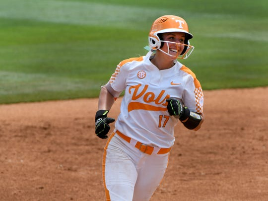 Lady Vols Chelsea Seggern smile as she runs off an over the fence homer in their game against James Madison in the NCAA Softball Tournament at Sherry Parker Lee Stadium Saturday, May 19, 2018.
